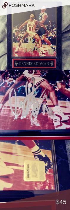 Autographed Dennis Rodman plaque Great sports memorabilia plaque of Dennis Rodman also signed by Dennis Rodman. Official NBA product sticker with #181221091. Plaque design by Premier Sports Plaques. Accessories