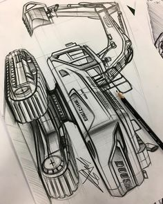 Interior Design Sketches, Industrial Design Sketch, Cat Excavator, Perspective Sketch, Minimalist Drawing, Butterfly Drawing, Truck Design, Car Sketch, Architecture Drawings