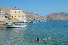 Enjoying a morning swim in Symi