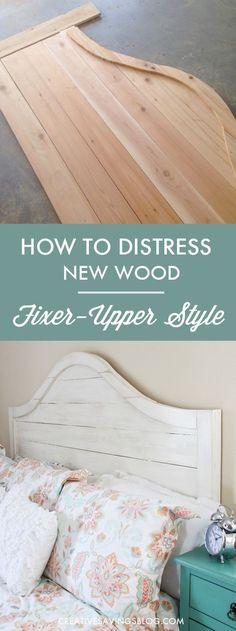 If you love HGTV's Fixer Upper, you'll love this super simple distressing technique. It makes new wood look old with Joanna Gaines' signature Rustic Farmhouse and Shabby Chic style. In fact, this headboard is an exact replica of the one she has in her own bedroom! via @CreativeSavings