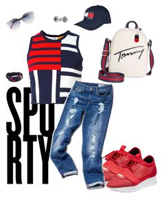 """""""Tommy 🤘🏾"""" by beverlyclm on Polyvore featuring Tommy Hilfiger, Balenciaga, Tory Burch and Bling Jewelry"""