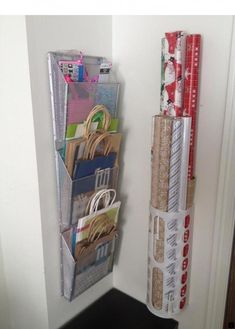 gift bag organization is genius Organized Wrapping Station Gift bags Tissue Wrapping Paper Ribbon DIY home storage organizationThe gift bag organization is genius Organ. Organisation Hacks, Craft Organization, Organizing Tips, Organization Ideas For The Home, Home Storage Ideas, Bathroom Organization, Ribbon Organization, Organizing Gift Bags, Organization Station