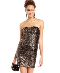 Sugar & Spice Juniors Dress, Strapless Sequin - Juniors Dresses - Macy's