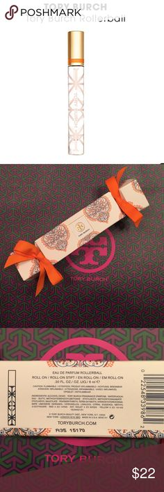 Tory Burch eau de parfum rollerball new in box! The first fragrance from Tory Burch captures classic elements in unexpected ways: feminine and tomboy, easy and polished. Floral peony and tuberose blend with crisp citrus notes of grapefruit and neroli anchored by earthy vetiver for a bright and complex mix—in a superchic rollerball. Perfect for taking a beautiful scent on the road with you! 0.20 fl oz.   Notes: Neroli, Grapefruit, Cassis, Bergamot, Peony, Tuberose, Jasmine Sambac, Vetiver…