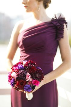 Berry hued bridesmaid inspiration: http://www.stylemepretty.com/2014/09/29/classic-wedding-by-rock-paper-scissors-events/ | Photography: Ayenia Nour - http://www.ayenianour.com/
