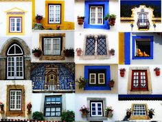 Windows in the Medieval Village of Óbidos (1h drive from Lisbon) Portugal