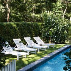 Poolside. And those hedges!