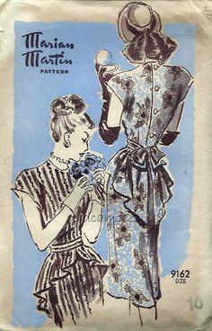Marian Martin 9162  Vintage 1940s Peplum Dress Pattern Back Button