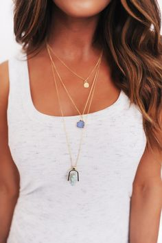 3 Piece Stone Necklace- Blue - Dottie Couture Boutique