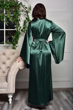Satin Kimono, Satin Nightie, Satin Lingerie, Wedding Lingerie, Lace Bridal Robe, Bridal Robes, Bridal Gown, Satin Dressing Gown, Pin Up
