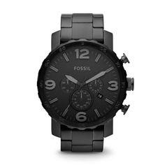 Fossil Men's JR1401 Chronograph Dial Black Stainless Steel Bracelet Watch 691464937362 |