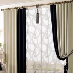 Elegant Black and White Eco-friendly Living Room Curtains