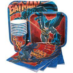Batman Birthday Party Supplies-Paper Plates Napkins Cups
