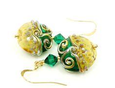 Green Earrings Lampwork Earrings Green Glass ♥ by BeadzandMore, $34.00