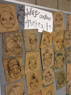 Completed Wire Portraits (Art at Becker Middle School)