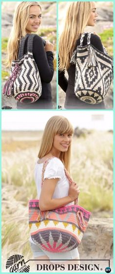 Tapestry Crochet Drops Bag Free Pattern -Tapestry Crochet Free Patterns wayuu Wayuu Mochila Tapestry Crochet Free Patterns Tips & Guide Mochila Crochet, Bag Crochet, Crochet Shell Stitch, Crochet Gratis, Crochet Diy, Crochet Clutch, Crochet Handbags, Crochet Purses, Crochet Mittens