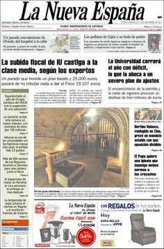 Los Titulares y Portadas de Noticias Destacadas Españolas del 27 de Noviembre de 2013 del Diario La Nueva España ¿Que le pareció esta Portada de este Diario Español?