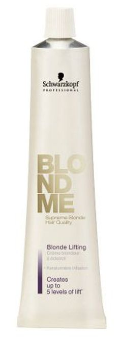 What it is: The new BLONDME toner color formula contains support POLYMERS. Can be mixed with the BLONDME Brightening. What it does: A pure, lifting cream without dye elements Offers 4 - 5 levels of controlled lift on natural hair Delivers lifting action to all Color Additives Can be added to any Color Additives to develop multi-blonde lifting shades. What else you need to know: Low ammonia content for a more gentle hair color. Potential for infinite creativity.