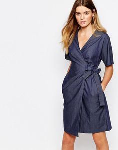 People Tree | People Tree Organic Fairtrade Cotton Wrap Front Dress in Chambray Denim Look at ASOS