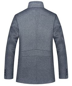 Shemen Mens Casual Stand Collar Jacket Winter Wool Blend Pea Coats