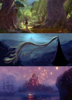 Original artwork for Tangled.  Ooh... I wonder what it would have been like if the second picture happened in the movie.