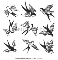 Set of swallow on white background design element vector image on VectorStock Lace Bow Tattoos, Skull Rose Tattoos, Black Tattoos, Body Art Tattoos, Sleeve Tattoos, Traditional Tattoo Black And White, Traditional Swallow Tattoo, Dessin Old School, Filigree Tattoo