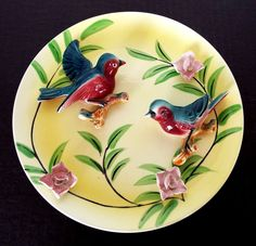 VINTAGE HANGING PORCELAIN BIRD PLATE MADE IN JAPAN MID CENTURY WALL DECOR ASIAN