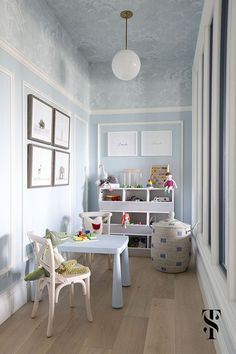 Chic Dental Office Kid's Playroom, Blue Walls With Wallpapered Ceiling, Animal Artwork, Interior Design by Summer Thornton Design Small Playroom, Playroom Design, Playroom Decor, Children Playroom, Blue Playroom, Childrens Rooms, Office Playroom, Playroom Ideas, Ceiling Decor