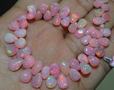 AAA Quality Natural Girly Pink Ethiopian opal Pear to mm Approx. , 7 inch Strand - AAA Quality Natural Girly Pink Ethiopian opal Pear to mm Approx. Tiffany Jewelry, Minerals And Gemstones, Rocks And Minerals, Gems Jewelry, Cute Jewelry, Jewellery, Silver Jewelry, Girly, Rocks And Gems
