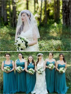 Teal bridesmaid dresses.