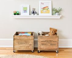 Add wheels to old wooden milk crates for cottage cute toy boxes!  Click for more creative repurposed storage ideas.