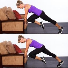 Couch Climbers, 3 out of the 10 total-body, fat-blasting exercises in this no equipment living room circuit.