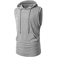 H2H Mens Casual Hipster Hip Hop Sleeveless Hoodie Longline Tank-Top with Pocket