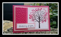 handmade card from Stamping With Richelle: Sheltering Tree in hot pinks ... like the dotty embossing folder texture in the panel that matches the leaves ... Stampin' Up!