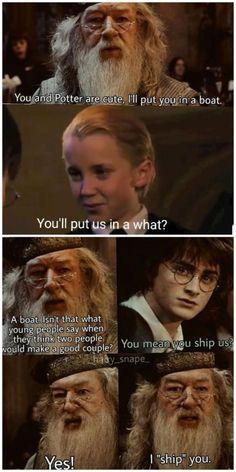 A fan made meme where Dumbledore ships Drarry