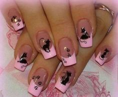 pink tips with black cats and paw prints