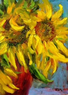 """""""Sunflowers in a Red Vase"""" by Karen Margulis:"""