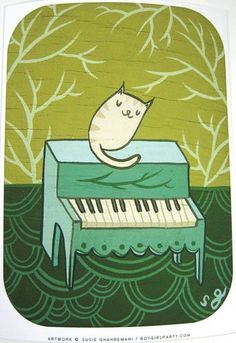 """Curling up to a piano this kitty couldn't be happier. This art print honors the comfort that music brings us as listeners. You will receive this signed art print from the """"Musical Chairs"""" series of pa"""
