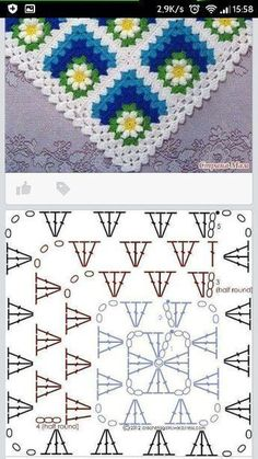 Discover thousands of images about Crochet motif chart patterncrochet square pattern Crochet Bedspread Patterns Part 17 - Beautiful Crochet Patterns and Knitting Patterns - Crochet Bedspread Patterns Part Granny Square Rose SThis Pin was di Motifs Granny Square, Granny Square Crochet Pattern, Crochet Blocks, Crochet Flower Patterns, Crochet Diagram, Crochet Squares, Crochet Motif, Knitting Patterns, Granny Square Tutorial