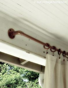 pvc pipe coated with copper spray paint. porch curtains, might be nice for the west side of the back patio Porch Curtains, Outdoor Curtains, Hang Curtains, Outdoor Curtain Rods, Privacy Curtains, Modern Curtains, Bathroom Curtains, Kitchen Curtains, Shower Curtains