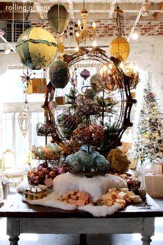 2016 Main Table Display - love the vertical space Christmas Store Displays, Christmas Window Display, Holiday Store, Christmas Decorations, Holiday Decor, Visual Merchandising Displays, Visual Display, Display Design, Store Design