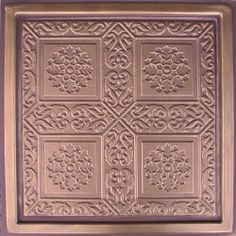 """Ankara Antique Copper Chocolate (24x24"""" Pvc) Ceiling Tile by Antique Ceilings. $7.98. Easy to cut. High quality PVC matterial. Can be painted with most any water or latex based paints. Universal Installation - Drop in Grid system, Glue-on, Nail-on. Tin like look from a modern material. PVC ceiling tiles come in 24""""x24"""" size. Feather-light, easy to install, easy to clean, stain resistant, water resistant, dust free, and easy to cut. They can be cut with any house hold scissors. ..."""