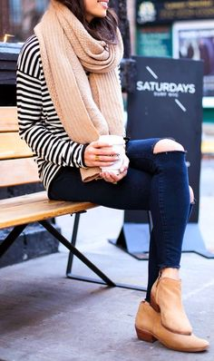 Stripes with ripped skinny jeans, perfect fall scarf and tan booties