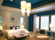 San Antonio Colorful Home - modern - bedroom - austin - Trent Hultgren/Cabana Casa  This color is way too intense, but I like using the accent color in pattern and solid
