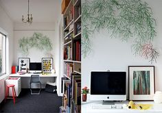This is Art Wall Small Office Furniture Design Item of Home Office Design Ideas. Home Office and Workplace interior design ideas. Adorable Art Wall Storage shelves and computer desk design Home Office Furniture Design, Home Office Design, House Design, Modern Furniture, Office Desk Set, White Desk Office, Home Interior, Interior Design, Interior Ideas