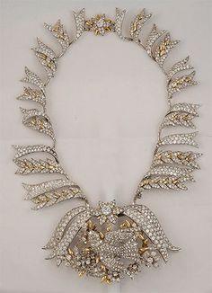 Tiffany & Co. Platinum & 18kt. Gold Schlumberger Diamond Bird Necklace.  Yafa Jewelry: