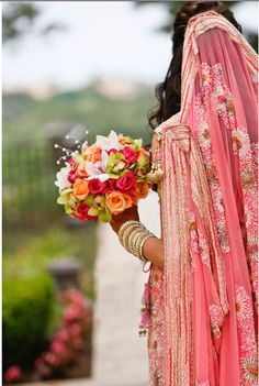 "PINKISH CORAL. For more wedding outfits, follow my ""South Asian Fashion -BRIDAL COUTURE"" board!"