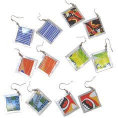 Recycled Soda Can Square Earrings