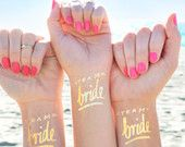 Set of 15 'Team Bride'© bachelorette party favor,bachelorette tattoo,flash tattoo,gold tattoo, bridal party,bridesmaid gift, hens party game