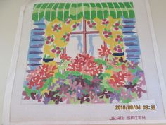 Jean Smith WINDOW BOX 3 Hand painted Needlepoint 13 Mesh Canvas 14 x 14 #JeanSmith